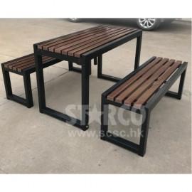 OUDBCHDT011户外塑木桌椅(1枱2櫈套装)